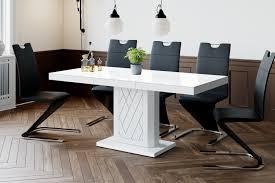 design esstisch tisch 111 weiß hochglanz ausziehbar 120 bis 170 cm design impex
