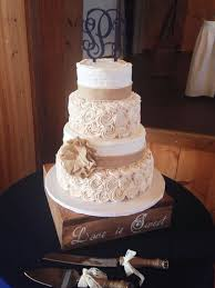 Rustic Wedding Cake With Burlap And Buttercream Rosettes By Amy Hart