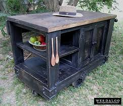 Modern Rustic Kitchen Island Cart With Walnut Stained Top Distressed Black