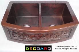 33x22 copper kitchen sink round apron scroll double bowl dark