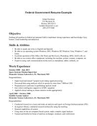 Government Job Resumes Example