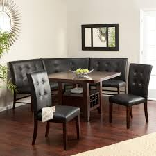 Dining RoomMarvelous Brown Wooden Table Combined With Corner Black Leather Tufted Bench And Chairs