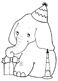 Elephant Coloring Pages Birthday