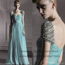 arab mint green elegant prom dresses a line beaded cap sleeve