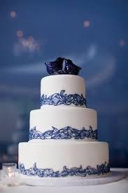 mega wedding wedding cakes a beautiful white cake with indigo blue lace trim