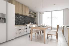 Modern White Kitchen Interior 3d Rendering Stockfoto Und 3d Rendering White Modern And Minimal Style Dining Room