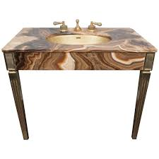 Sherle Wagner Italy Sink by Sienna Marble Vintage Bathroom Vanity With Gold Glitter Sink By