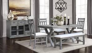 The Shelter Cove Dining Set By Vilo Home Comes In A Gray Finish And Features An X Base Trestle Table