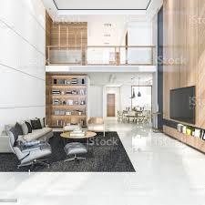 3d rendering holz moderne wohnzimmer und esszimmer stockfoto und mehr bilder architektur