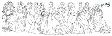 Coloring Pages Disney Princesses Together 3