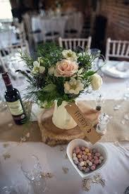 Jug Flowers White Blush Hessian Log Centrepiece Tables Rustic Woodland Spring DIY Wedding