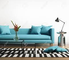 modernes interieur mit einem blauen türkis sofa im wohnzimmer