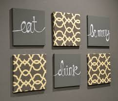 Eat Drink Be Merry Wall Art Pack Of 6 Canvas Hangings Hand Painted Fabric