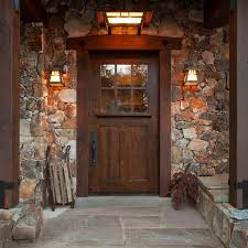 Porch Design Rustic Entry With Traditional Brown Wooden Front Door Porches Classic Handle Also Antique Outdoor Wall Lights