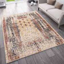 teppich vintage look designer kurzflor teppich läufer bunt rot vimoda homestyle