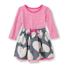 toddler girls long sleeve stripe u0026 heart dress the children u0027s place