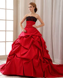 Red with Black Lace Strapless Wedding Gowns Ball Gown Wedding