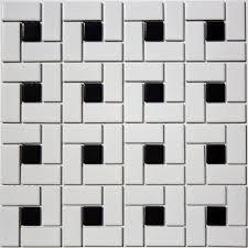 satin glazed porcelain spiral pinwheel mosaic tile in black white