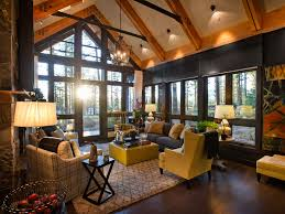 Living Room Best Rustic Decor With Black Laminated Wall And Dark Brown Wood Floor Also Comfortable Seatting Sets Added Square Yellow Coffee