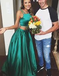 satin two piece ball gown prom dresses girls dark green prom