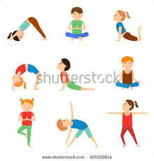 Set Of Yoga Kids Healthy Lifestyle Vector Illustration Children Gymnastics