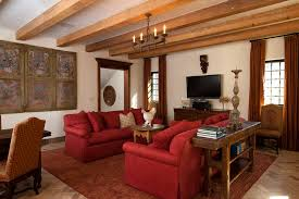 Lovely Red Sofa Decorating Ideas For Living Room Rustic Design With Brick Flooring Console
