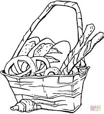Click The Basket Of Pretzels And Bread Coloring Pages