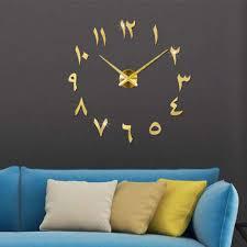 3d arabische wanduhr große moderne mute diy dekoration geschenk wohnzimmer home office gold
