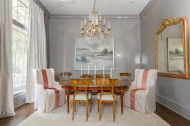 Gray Dining Room With Crown Moldings