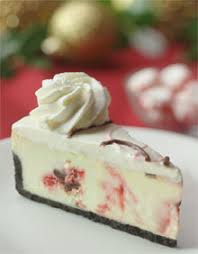 Picture of a ten inch peppermint chocolate chunk cheesecake