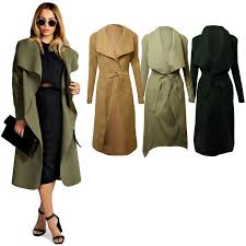 wholesale women long waterfall draped coat belt long sleeve jacket