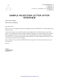 Rejection Letter Sample Templates Free Templates in DOC PPT PDF