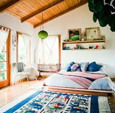 Refined Boho Chic Bedroom Designs A Colorful Cold Toned Tribal Inspired Rug Would Be Great Addition