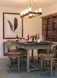 Wood And Zinc Dining Table With Swivel Barstools Rush Seats