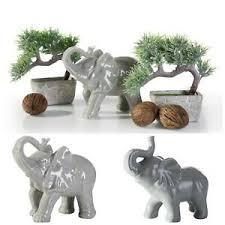 details zu dekofigur elefant grau keramik figur wohnzimmer dekoration zum glück