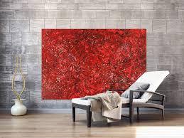 abstraktes acrylbild rot gold modern zeigenössisch handgemalt auf leinwand groß