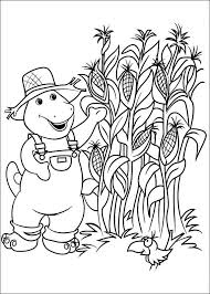 Barney In Cornfield Coloring Pages For Kids Printable