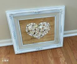 Old Frame Repurposed With Faux Pallet Button Heart Art Crafts Repurposing Upcycling Seasonal