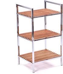 küchenregal holz regal bambusregal badregal badezimmer chrom mit 3 ablagen 70 cm
