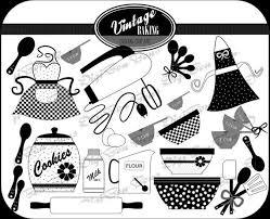 Vintage Baking Digital Clip Art In Black White By DigiBonBons 450