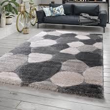 hochflor teppich shaggy grau wohnzimmer stein muster
