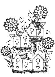 Flower Coloring Pages Of Bird Houses And Gardens