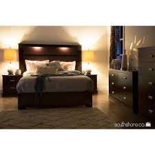 King Platform Bed With Headboard by South Shore Gloria King Headboard With Lights 78