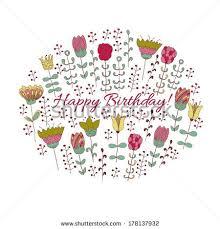 Happy birthday card design hand drawn cute flowers