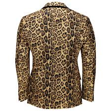 mens leopard rosette deep gold printed italian suit jacket fitted