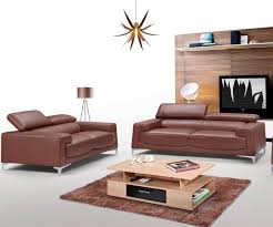 100 Designer Modern Sofa ESF 2537 Saddle Brown Topgrain Leather Set 2Pcs Contemporary