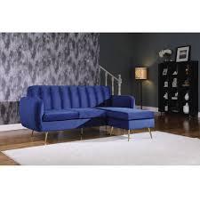 ecksofa aus dunkelblauem samt leonard 202 x 80 138 x 92 cm 3 sitzer sofa verschiebbare ecke