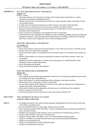 Download Electro Mechanical Technician Resume Sample As Image File