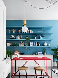 Sisalla Melbourne Interior Design Kitchen Decor With Blue Wall And Open Shelving Unit A Red