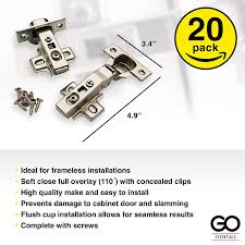 Soft Close Cabinet Hinges Amazon by Soft Close Hinges 20 Pack 35mm Full Overlay Self Closing
